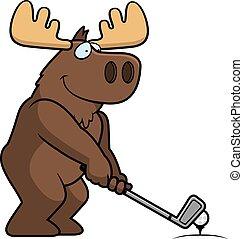 Cartoon Moose Golfing - A cartoon illustration of a moose...