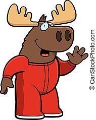 Cartoon Moose Pajamas - A cartoon illustration of a moose...