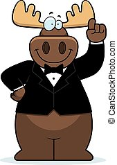 Cartoon Moose Tuxedo - A cartoon illustration of a moose in...