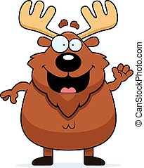 Cartoon Moose Waving - A cartoon illustration of a moose...