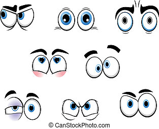 cartoon, morsom, øjne
