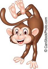 cartoon, morsom, abe, dansende