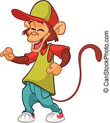 cartoon, morsom, abe, dansende, ind, moderne, clothes., vektor, illustration., chimpanse, mascot