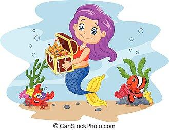 cartoon, morsom, havfrue