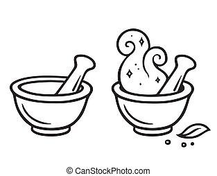 Cartoon mortar and pestle, magic potion making line art...