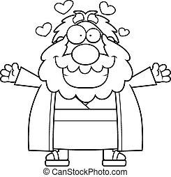 Cartoon Moses Hug - A cartoon illustration of Moses ready to...