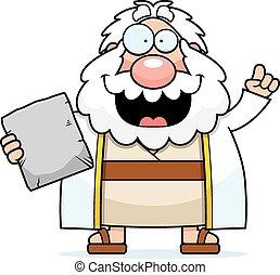 Cartoon Moses Idea - A cartoon illustration of Moses with an...