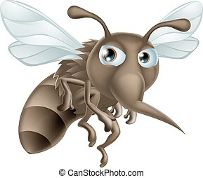 A mean looking but cute cartoon mosquito illustration