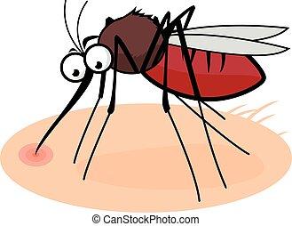 Cartoon mosquito sucking blood