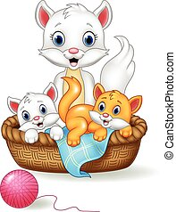 Cartoon mother and baby cat - Vector illustration of Cartoon...