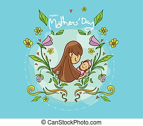 cartoon mother day,logo,icon and multi color