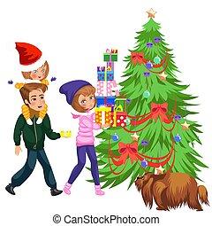 Cartoon mother putting presents under christmas tree