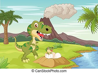 Cartoon Mother tyrannosaurus with b - Vector illustration of...