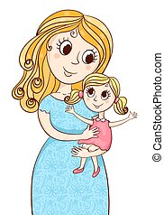 Cartoon mother with litle girl