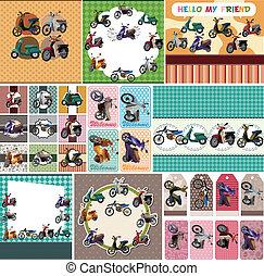 cartoon motorcycle card