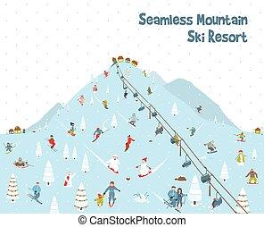 Cartoon Mountain Ski Resort Seamless Border Pattern -...