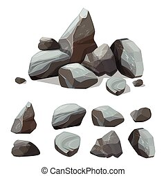 Cartoon mountain stones. Rocky big wall from gravels and...