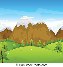 Cartoon Mountains Landscape - Illustration of a cartoon...