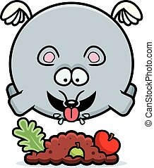 Cartoon Mouse Eating - A cartoon illustration of a mouse...