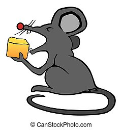 Cartoon Mouse Eating Cheese