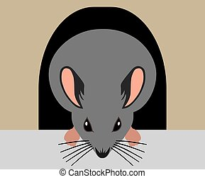A flat vector cartoon mouse is going out to forage for food