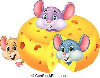 Cartoon mouse hiding inside cheddar - Vector illustration of...