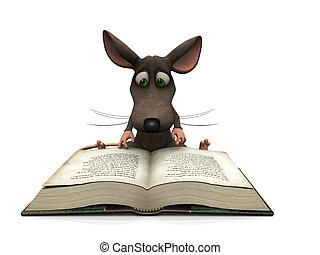 Cartoon mouse reading - A cartoon mouse reading a big book,...