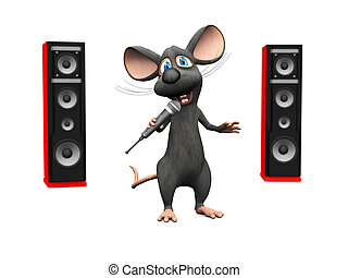 Cartoon mouse singing with microphone and big speakers.