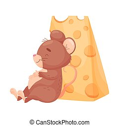 Cartoon mouse sits near the cheese. Vector illustration on white background.