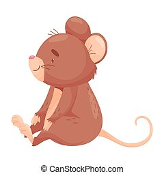 Cartoon mouse sits. Vector illustration on white background.