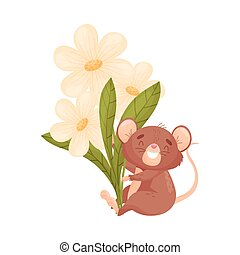 Cartoon mouse sits with flowers. Vector illustration on white background.