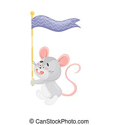 Cartoon mouse with a flag. Vector illustration on a white background.