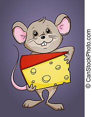 Cartoon mouse with a piece of cheese in its arms, color vector illustration