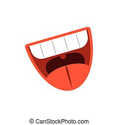 cartoon mouth laughing, flat style icon