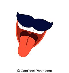 cartoon mouth with mustache, flat style icon