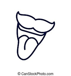 cartoon mouth with mustache, line style icon