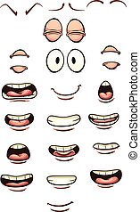 Cartoon mouths and eyes. Vector clip art illustration with...