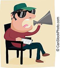 Cartoon movie director - A movie director with a megaphone...