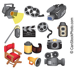 cartoon movie equipment icon set