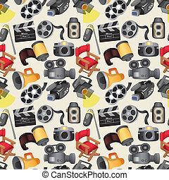 cartoon movie equipment seamless pattern