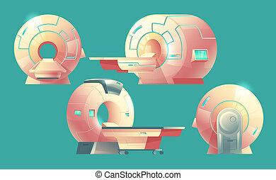 cartoon MRI scanner, magnetic resonance imaging