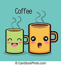 cartoon mug coffee drink hot graphic