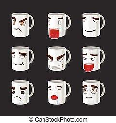 Cartoon Mug Emotion Face Cute