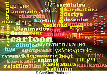 Cartoon multilanguage wordcloud background concept glowing