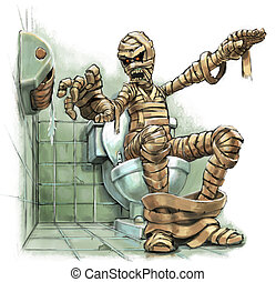 Cartoon Mummy with No Toilet Paper - A funny cartoon ...