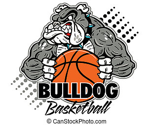 bulldog with basketball - cartoon, muscular bulldog with ...