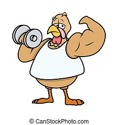 Muscular Turkey Bird - Cartoon Muscular Turkey Bird Doing...