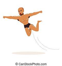 Cartoon muscularity wrestler in high flying action - Cartoon...