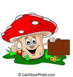 A cartoon mushroom leaning on a blank wooden signpost