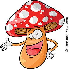 cartoon mushroom - happy cartoon mushroom over white...